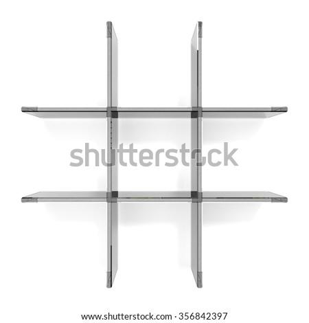 glass grid shelfs on white background - stock photo