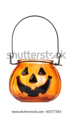 glass Halloween pumpkin candle holder - stock photo