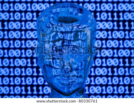 Glass head in front of binary code - stock photo