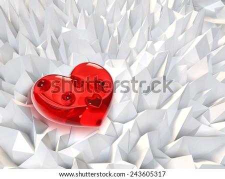 Glass Heart - stock photo