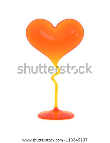 Glass Heart - High quality Render with Clipping Path - stock photo
