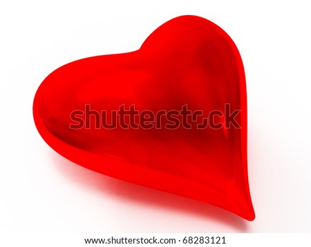 Glass heart-shaped object in red against white background - stock photo