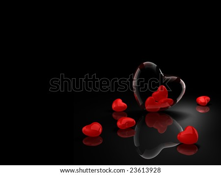 Glass heart with red hearts on black background - stock photo