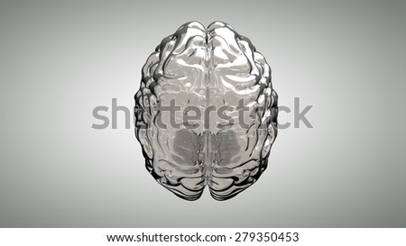 Glass human brain on a gray background - stock photo