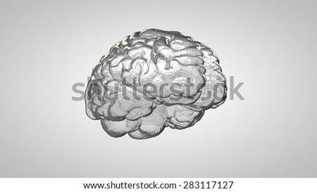 Glass human brain on a gray background - stock photo