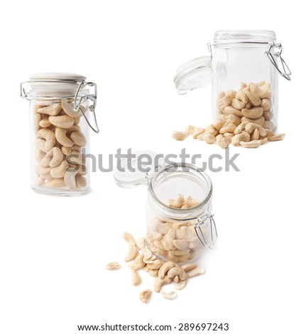 Glass jar filled with the cashew nuts isolated over the white background, set of three different foreshortenings - stock photo