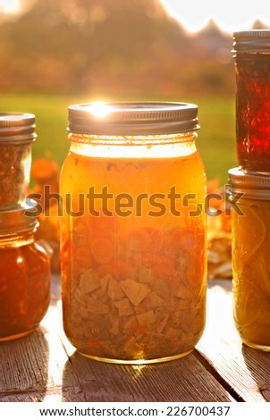 Glass jar of home canned chicken soup in autumn sunlight - stock photo