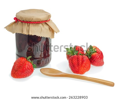 Glass jar of strawberry jam with berries isolated on white background. Closeup. - stock photo