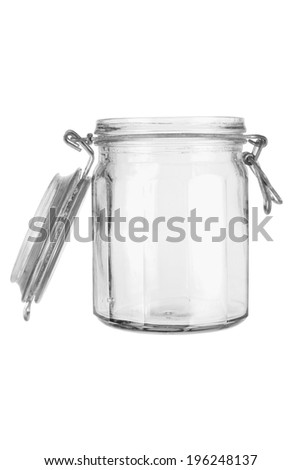 Glass Jar on White Background - stock photo