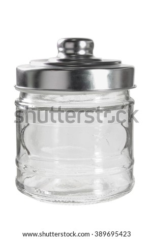 Glass Jar on White Background - stock photo