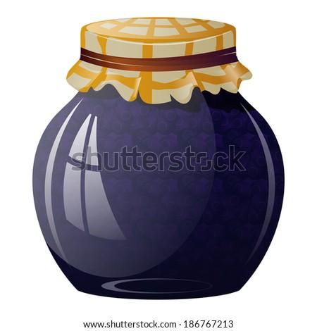 Glass jar with blueberry jam - stock photo