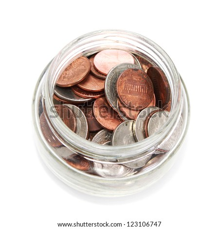 Glass jar with coins - stock photo