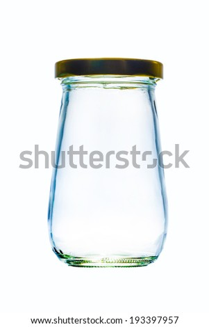 Glass jar with lid on white backgrouns - stock photo