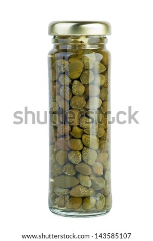 Glass jar with marinated capers on the white background - stock photo