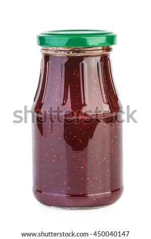 Glass jar with strawberry jam isolated on the white background - stock photo