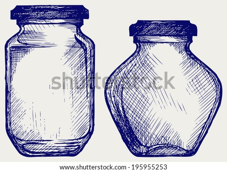 Glass jars. Doodle style. Raster version - stock photo