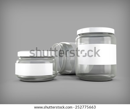 Glass jars of various sizes. 3d render image. - stock photo
