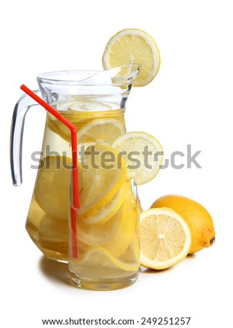 Glass jars with lemon on a white background - stock photo