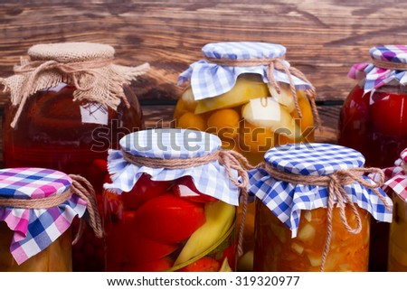 Glass jars with preservation. Natural food. - stock photo