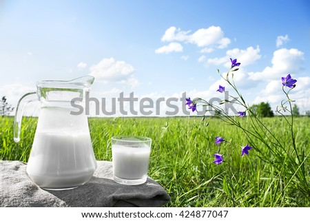 Glass jug with milk and a glass on the grass against a backdrop of picturesque green meadows with flowers at clear sunny summer day. Fresh organic milk. Nature background. Beautiful blue sky.  - stock photo