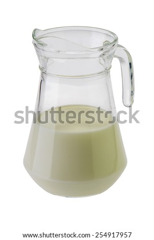 Glass jug with milk isolated on white background - stock photo