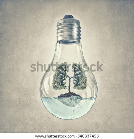 Glass lightbulb with green tree growing inside - stock photo