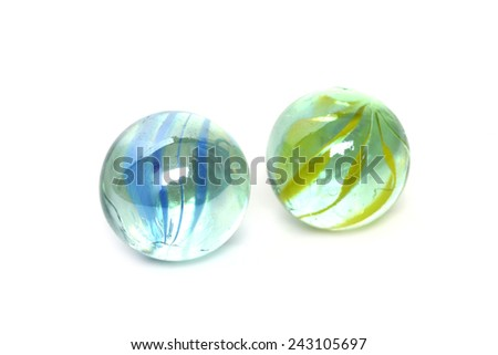 glass marble ball isolated on white - stock photo