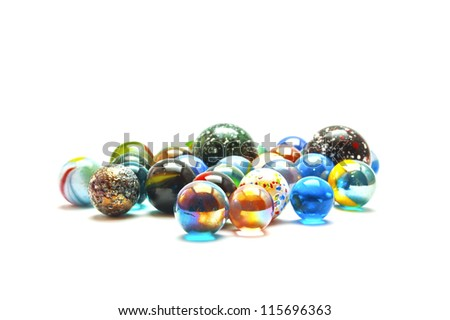 Glass marble balls isolated on white background - stock photo