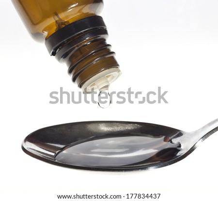 Glass Medicine Vial and spoon on a white background. - stock photo