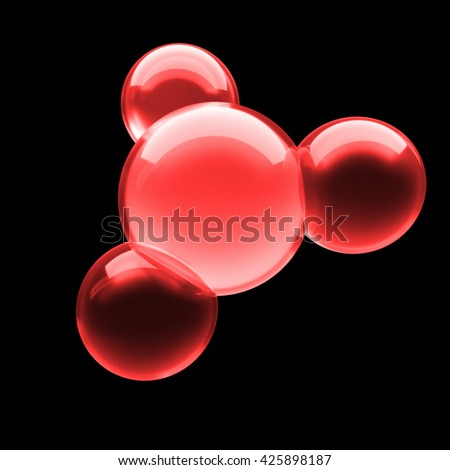 glass molecule structure on black background, isolated, 3d rendering - stock photo