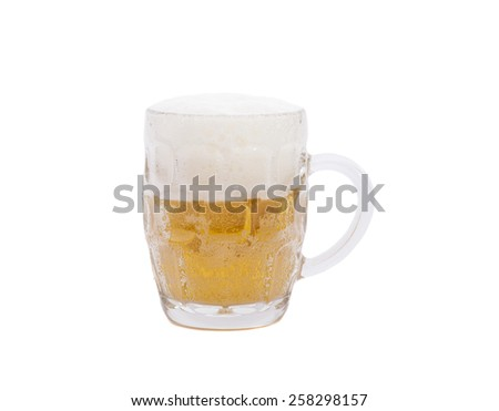 Glass mug with beer isolated on white background - stock photo