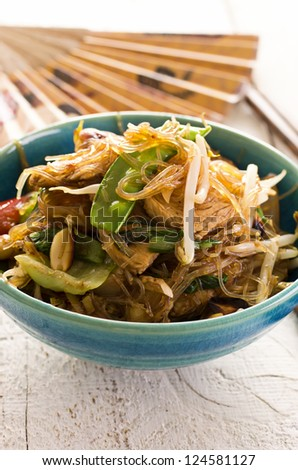 glass noodles with beef stir-fried - stock photo