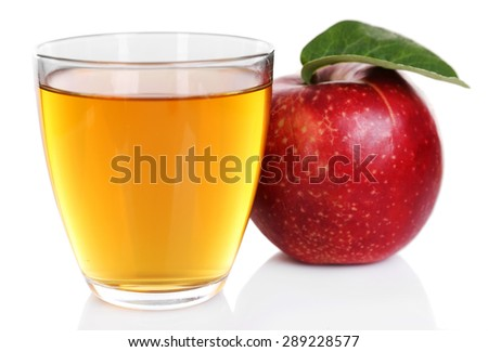 Glass of apple juice with red apple isolated on white - stock photo