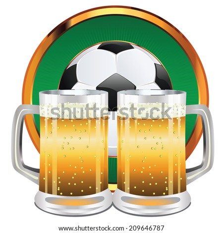 Glass of beer and soccer (football) ball illustration. - stock photo