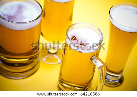 Glass of beer close-up - stock photo