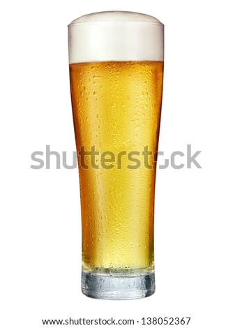 Glass of beer isolated on a white background. With clipping path - stock photo