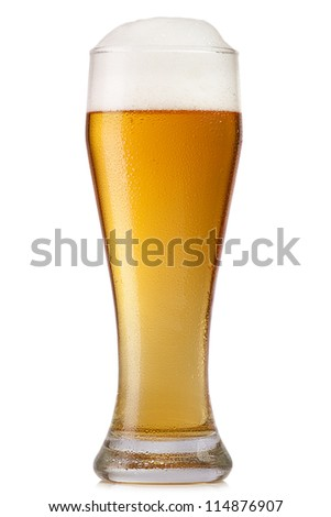 glass of beer isolated on white - stock photo