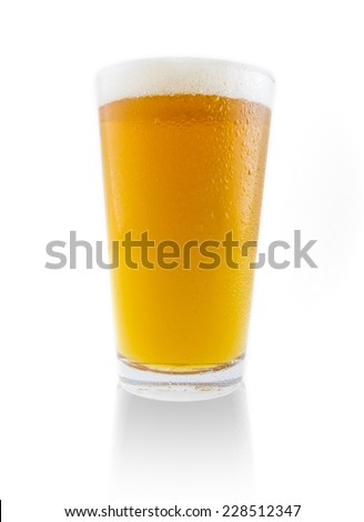 Glass of beer isolated on white background - stock photo