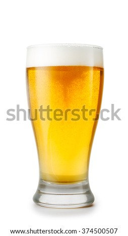 Glass of beer isolated on white background with real shadow and clipping path - stock photo