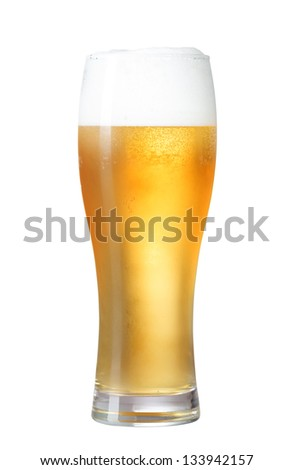glass of beer isolated on white with clipping path included - stock photo