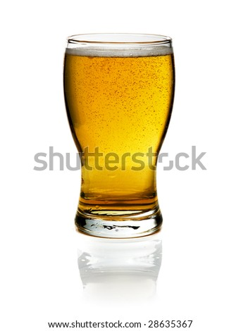 glass of beer isolated over a white background - stock photo