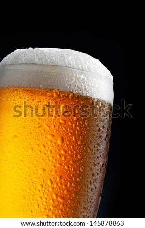 glass of beer on dark blue background - stock photo
