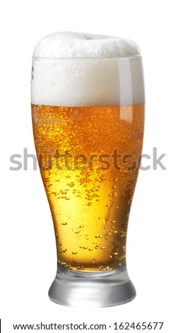 Glass of beer on white background - stock photo