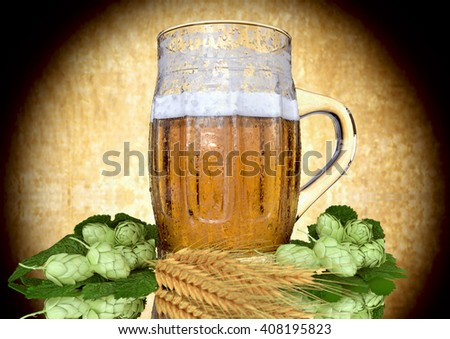 glass of beer with barley and hops - 3D ender - stock photo
