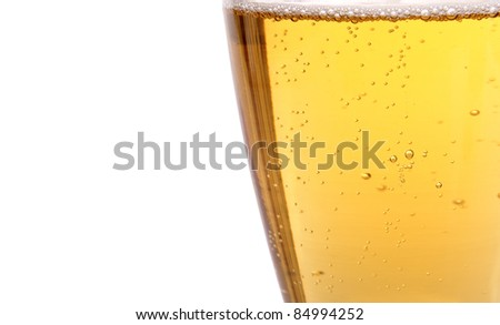 Glass of beer with bubbles on the white background - stock photo