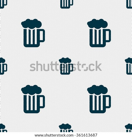 Glass of beer with foam icon sign. Seamless pattern with geometric texture. illustration - stock photo