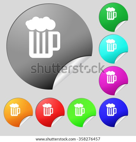 Glass of beer with foam icon sign. Set of eight multi colored round buttons, stickers. illustration - stock photo