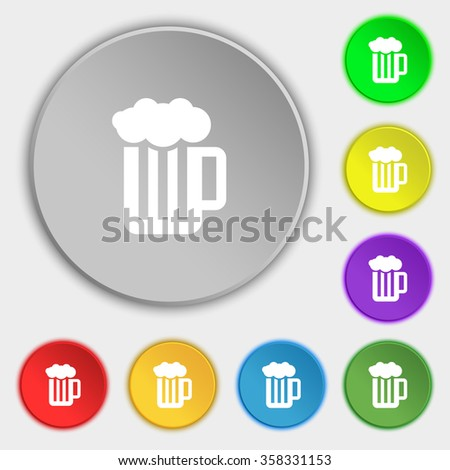 Glass of beer with foam icon sign. Symbol on eight flat buttons. illustration - stock photo