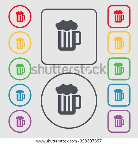 Glass of beer with foam icon sign. symbol on the Round and square buttons with frame. illustration - stock photo