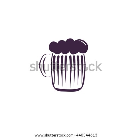 Glass of beer with foam. Simple blue icon on white background - stock photo